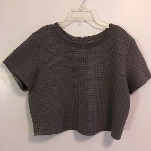 Quilted Gray Crop Top with Zipper